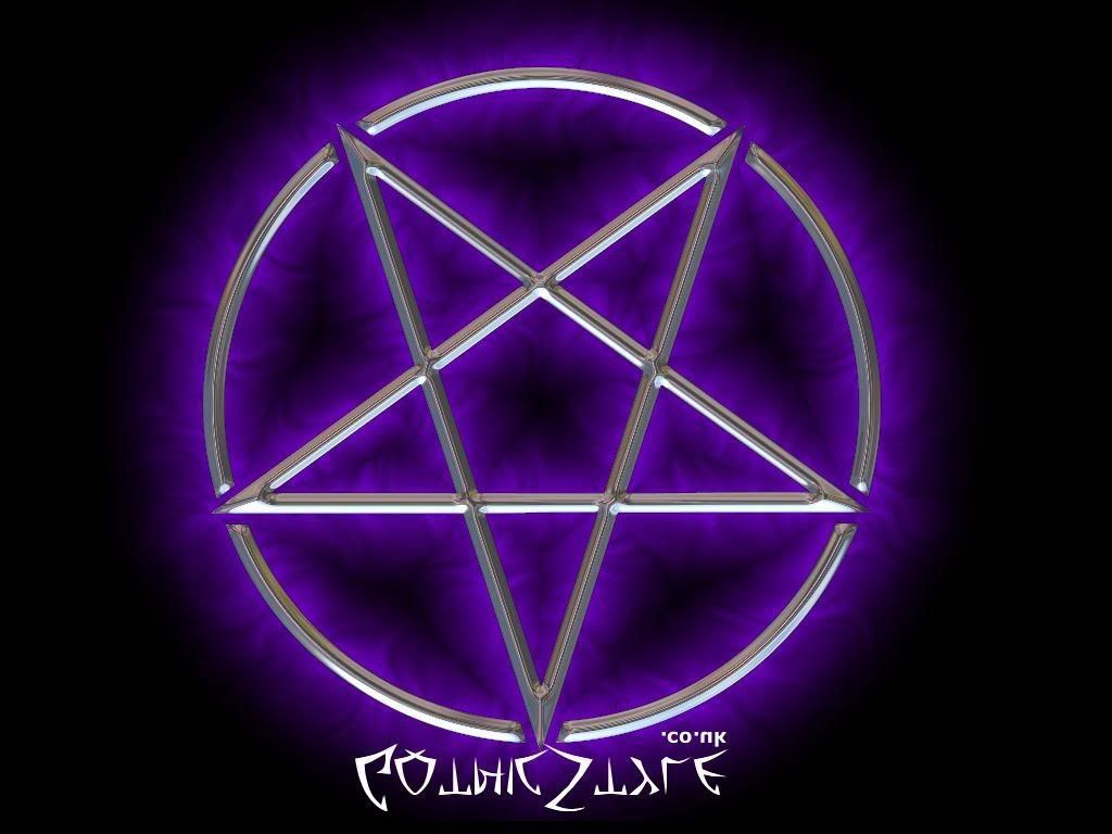 Satanic Pentagram Purple Pentagram, Dark, inverted