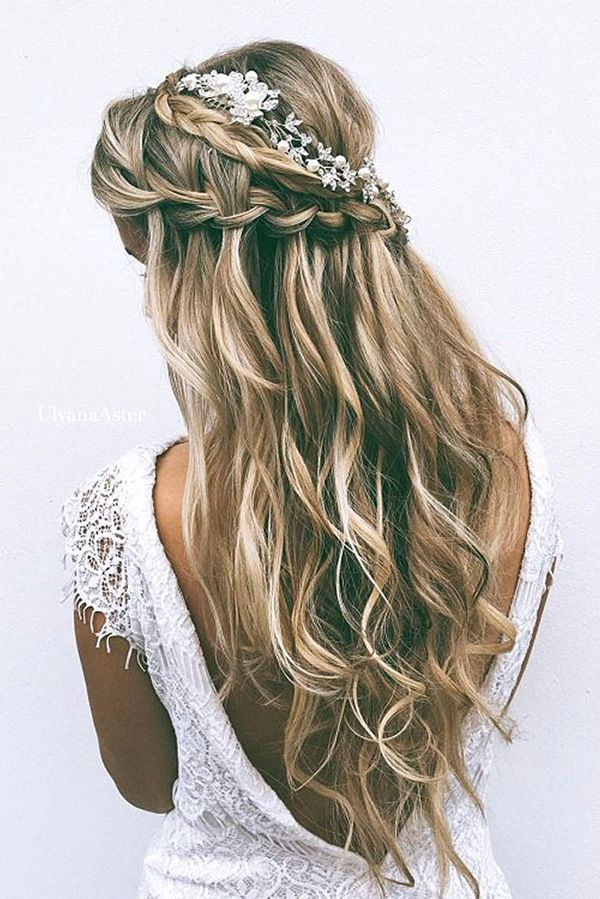Half Up Down Wedding Hairstyle For Long Hair