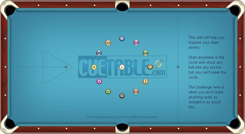 Circle draw shoot drill, center table Biliards Pool Center Table