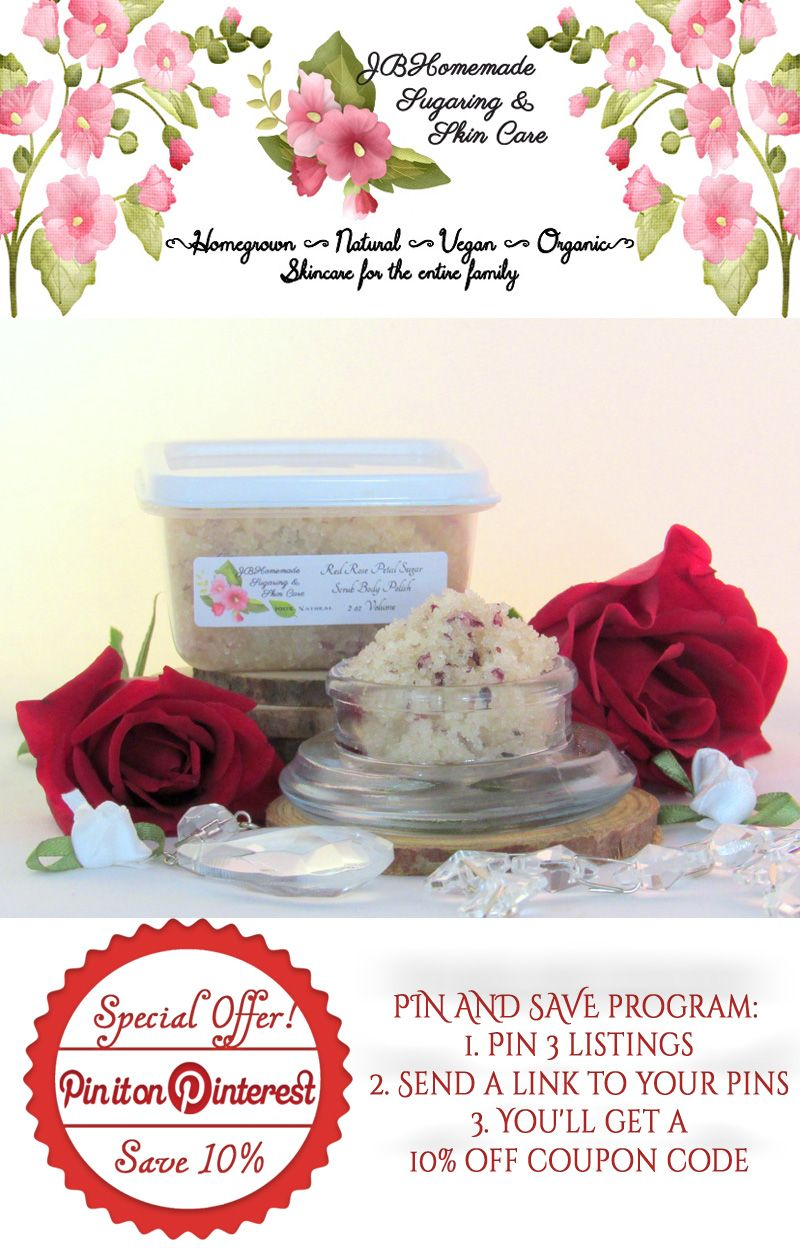 Natural Red Rose Petal Sugar Scrub Body Polish ♥ Best selling fragrance! ♥ Moisturizing formula ♥ Leaves skin soft and smooth ♥ Nice, floral scent ♥ Smells Amazing with the light scent of a rose garden ♥ Gently removes old dry skin ♥ Improves circulation ♥ Soft, glowing, moist, healthy bright skin $4.59 Get it here http://etsy.me/2ePwSwa PIN & SAVE: 1. Pin 3 listings 2. Send a link to your pins 3. Get 10% off #JBHomemade #natural #organic #skincare #scrubs #red #rose