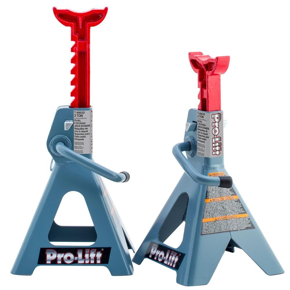 Pro Lift 2 Ton Double Pin Jack Stands Pair Ductile Iron Lifted Cars Home Depot
