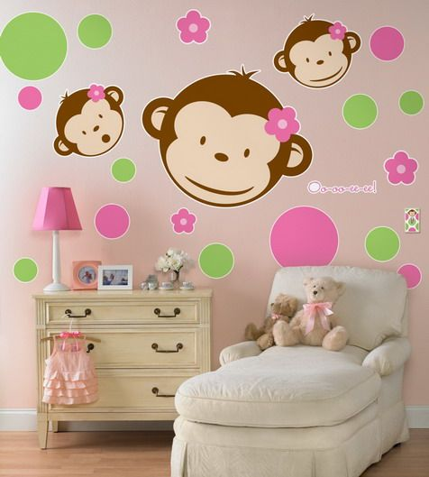 Ideas For Skys Room: Remodeling Girls Bedroom With Pink Monkey Wallpaper  Stickers Ideas