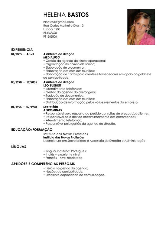 Modelo de Curriculum Assistente Administrativo | Exemplo de CV ...