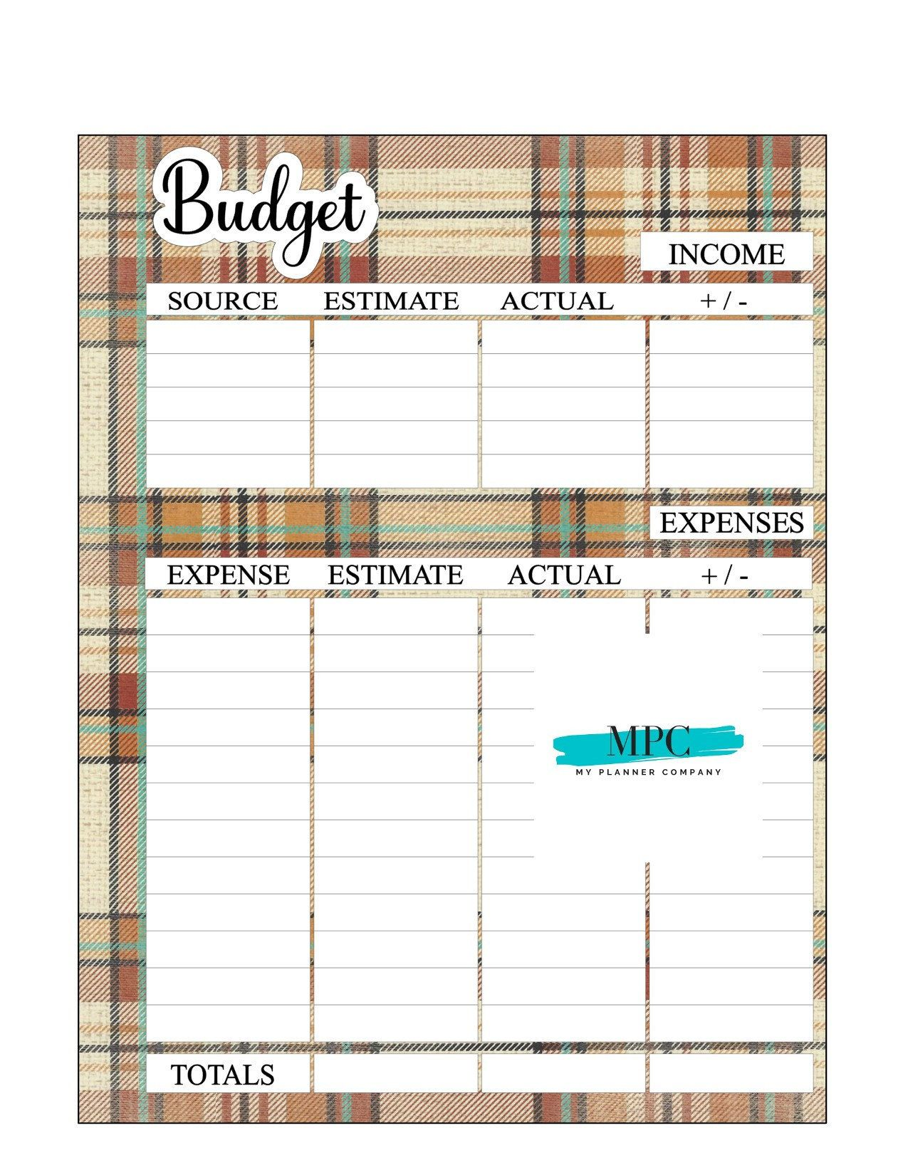 Budget Sheet Fall Flannel Budget Printable Planner
