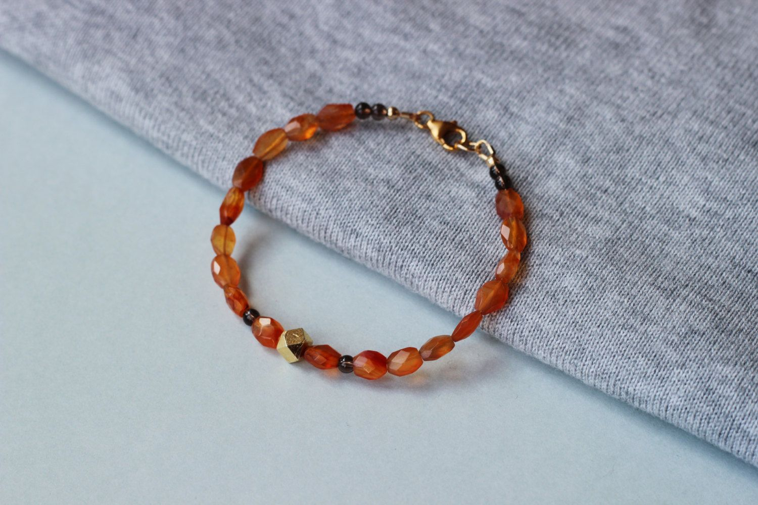 Carnelian Faceted and Smokey Quartz Gemstones with 24k Gold Vermeil Cube Bead Bracelet by ILgems on Etsy