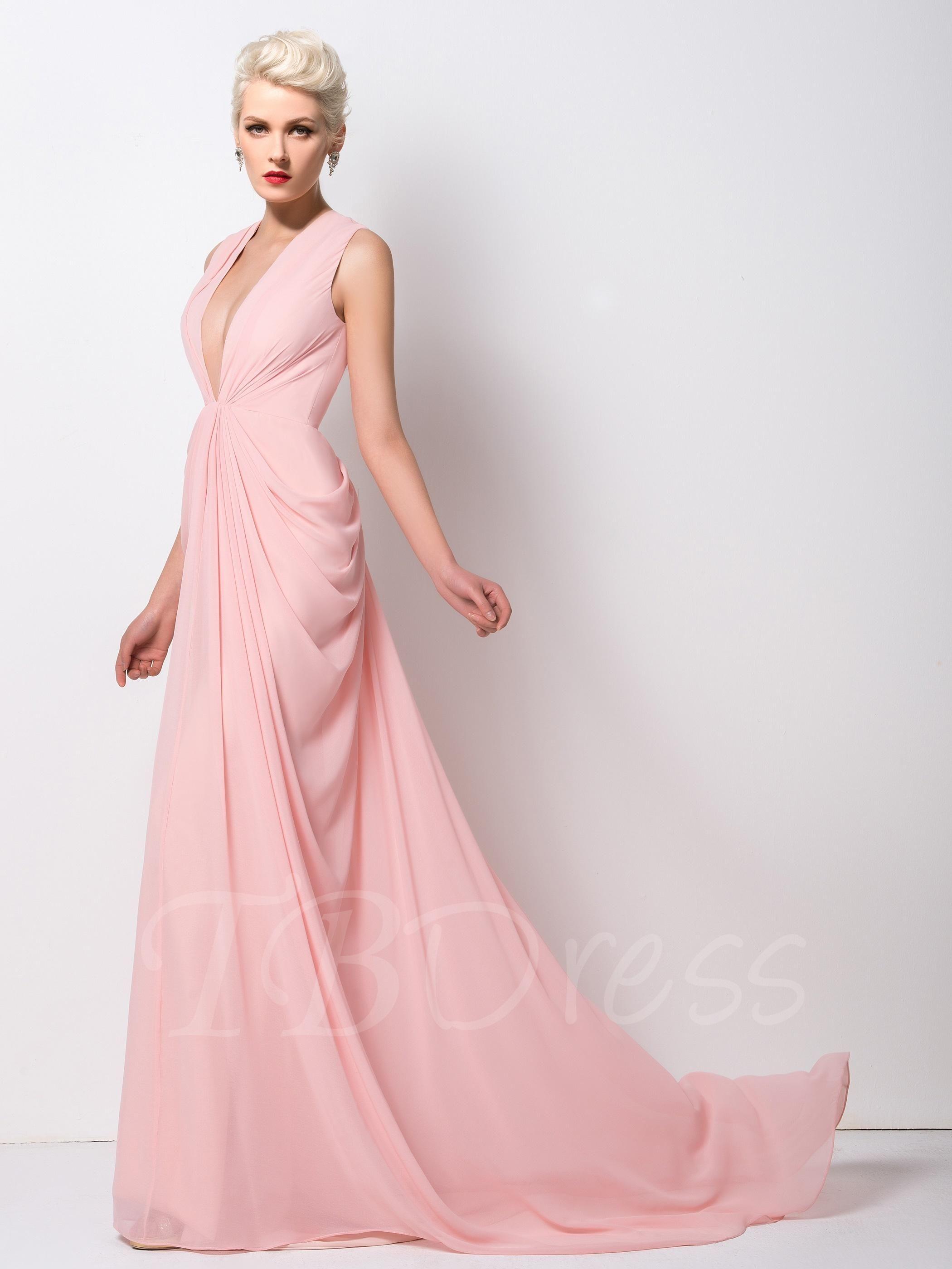 Tbdress tbdress mermaid deep vneck pure color court train prom
