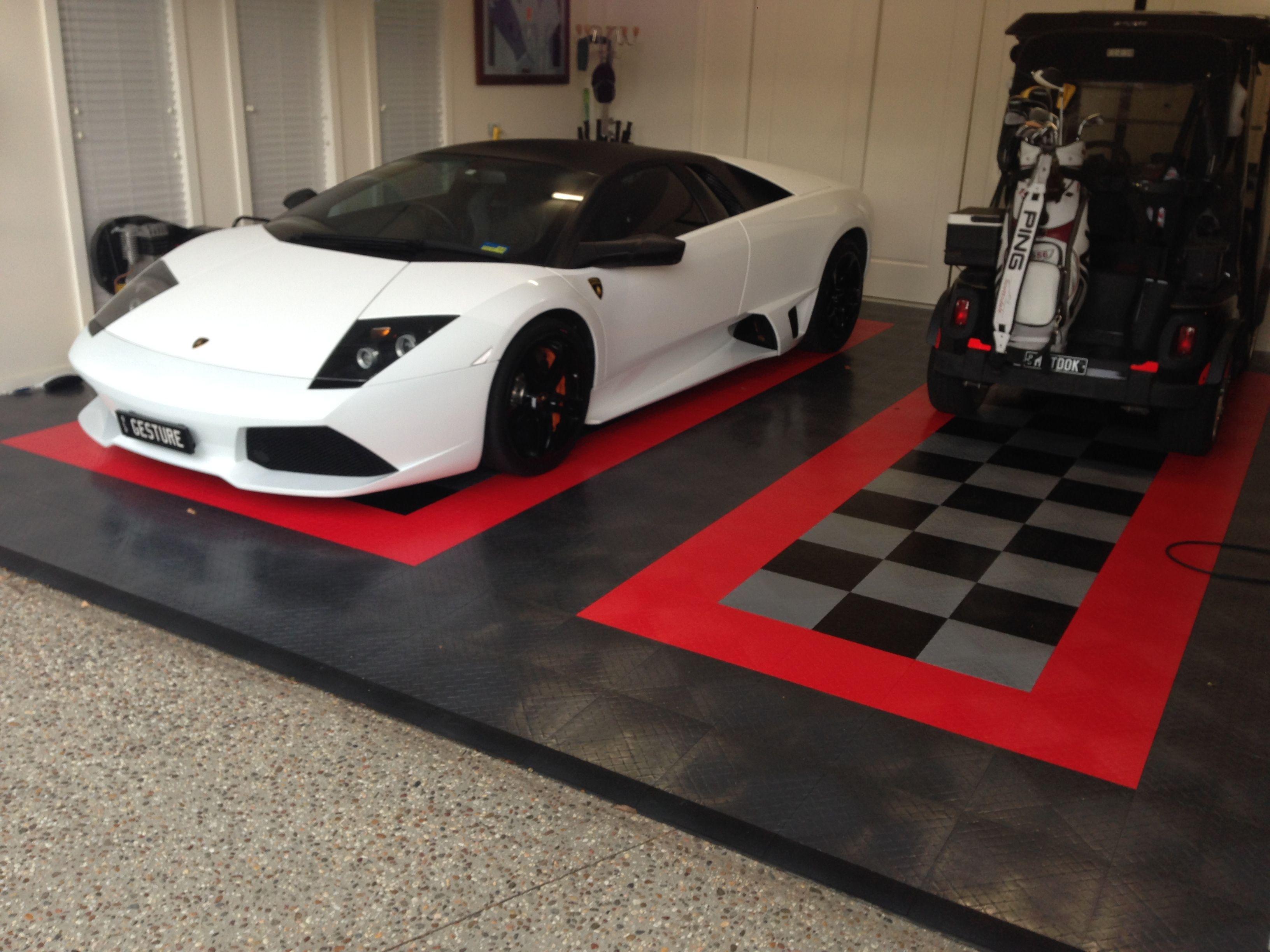 Storage Ideas RaceDeck Garage Flooring With A Nice Lamborghini Resting On It