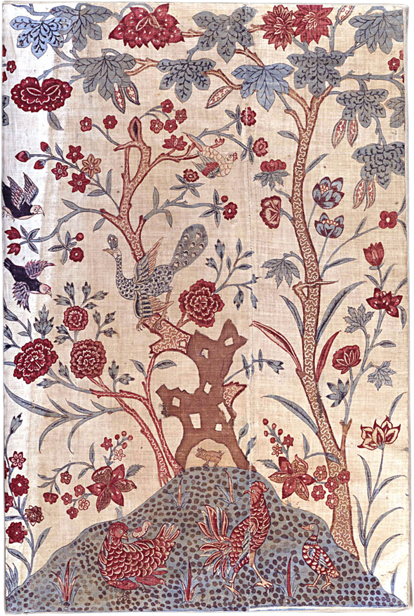 Miniature Palampore panel, India, ca  1770's var  r wht n bl