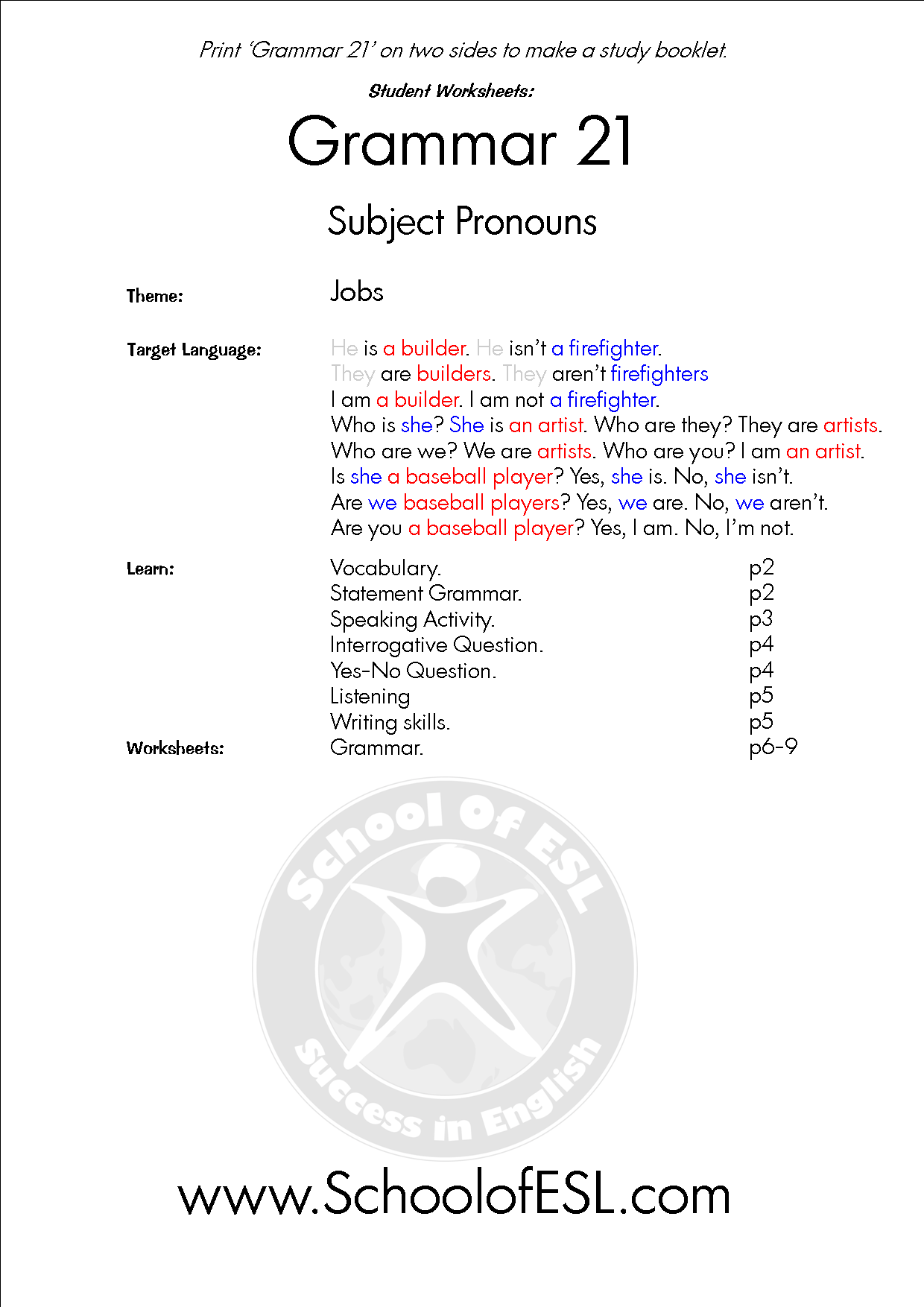 Grammar 21 Subject Pronouns 2 Resources For Intensive