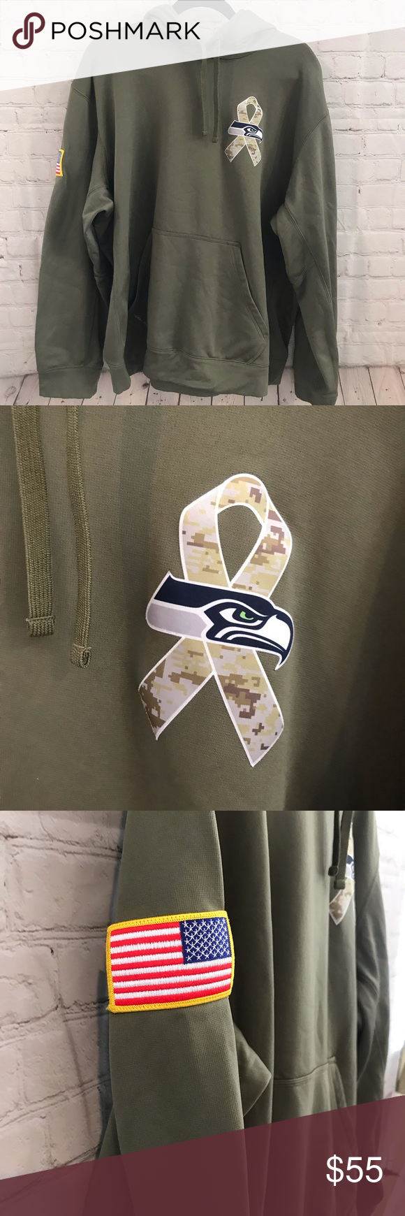 Seattle Seahawks Salute to Service Hoodie, XXL Seattle Seahawks Salute to Service thermal fit Hoodie, XXL. Color is olive and made fore 2014 NFL Salute to Service.  Light pulling on inside fabric. Nike Shirts Sweatshirts & Hoodies #salutetoservice