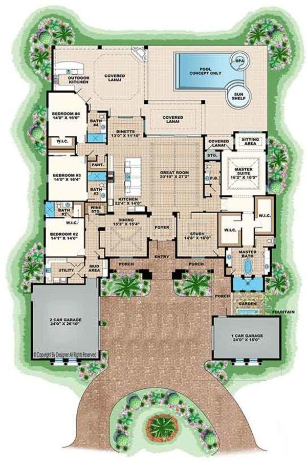 Mediterranean Style House Plan 4 Beds 4 5 Baths 4386 Sq Ft Plan 1017 166 Mediterranean Style House Plans Mediterranean Floor Plans Mediterranean Homes Exterior