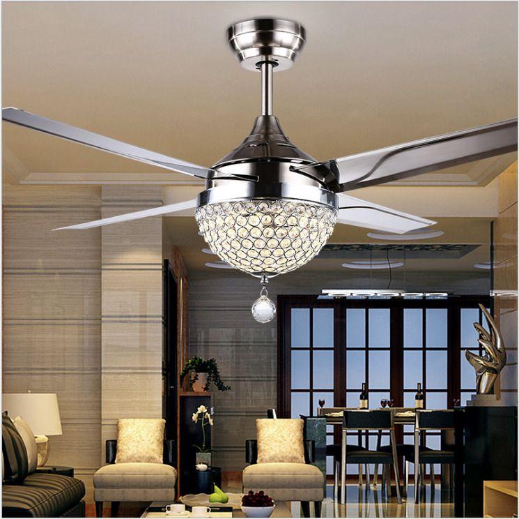 44 Stainless Steel Crystal Ceiling Fan Light Led Pendant Lamp