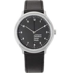 MondaineHelvetica No1 Stainless Steel and Leather Watch
