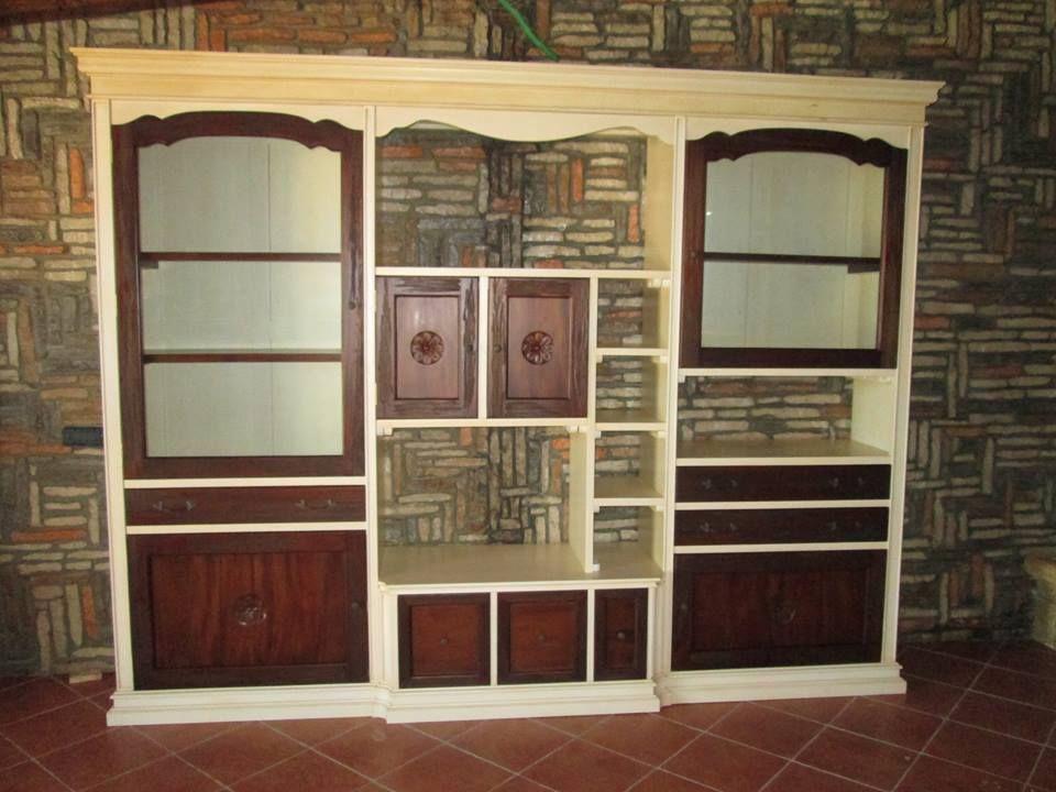 parete attrezzata in legno massello di mogano, con finitura bicolore ...