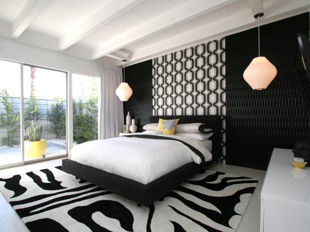 Black And White Modern Bedroom Here Is A Modern Bedroom That Opens To The  Great Outdoors. The Black And White Bedroom Is Accented With Retro Lighting  ...