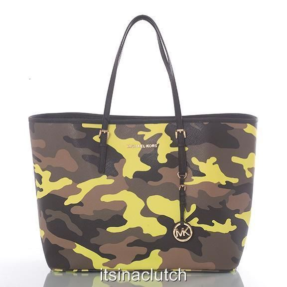 775f39b6743f2c NWT AUTH MICHAEL KORS JET SET TRAVEL ACID LEMON CAMO TOTE #MichaelKors  #TotesShoppers