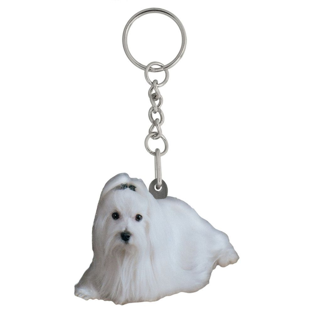 Maltese Mirrored Acrylic Keychain