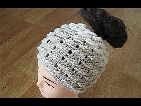 1) Crochet Messy bun hat crochet pattern - YouTube | Crochet ...