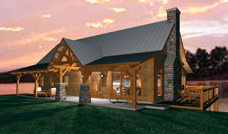 Congregate in the kitchen with this open-concept timber-frame design.