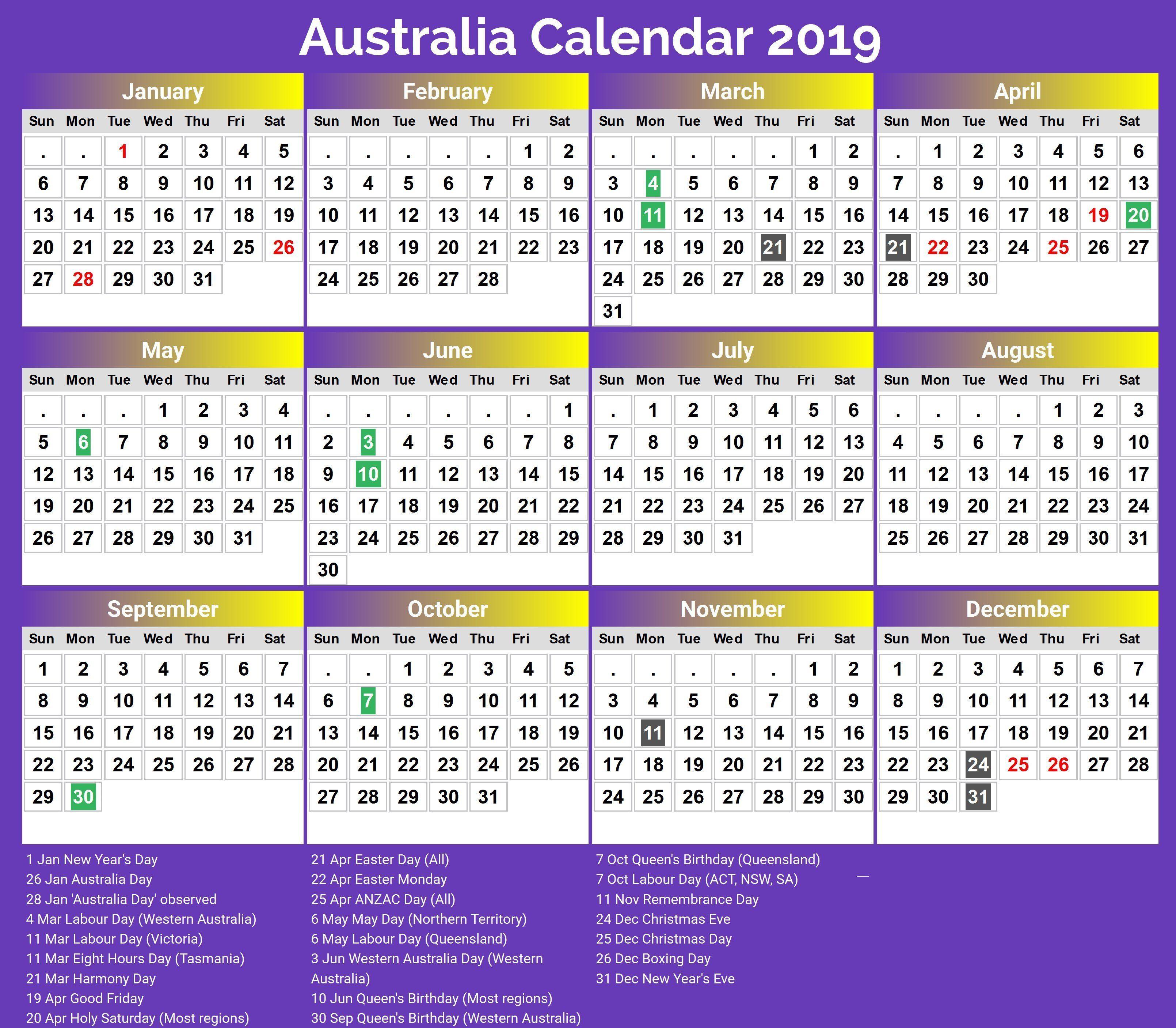 Print 2019 Australia Holidays Calendar Calendar 2018 Printable Calendar 2020 Printable Calendar