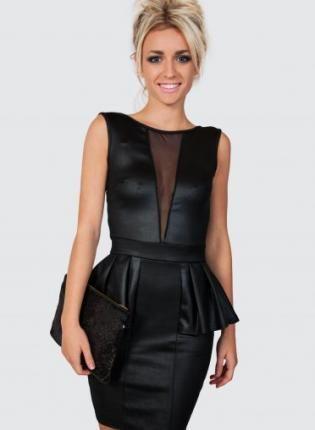 Black Wet Look Dress With Mesh Front Detail Dress Peplum Dress