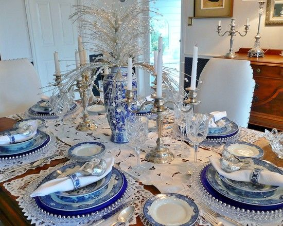 Blue White Decorating Christmas Table Centerpieces Christmas Table Decorations Traditional Dining Room