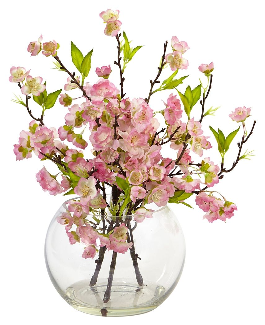 Home Accents Cherry Blossom In Large Vase Pink Artificial Flowers And Plants Artificial Flowers Large Glass Vase