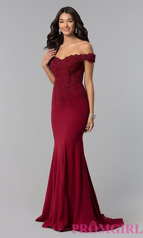 3463f3dfd Image of sweetheart off-the-shoulder long prom dress with lace. Style:  DQ-2358 Front Image