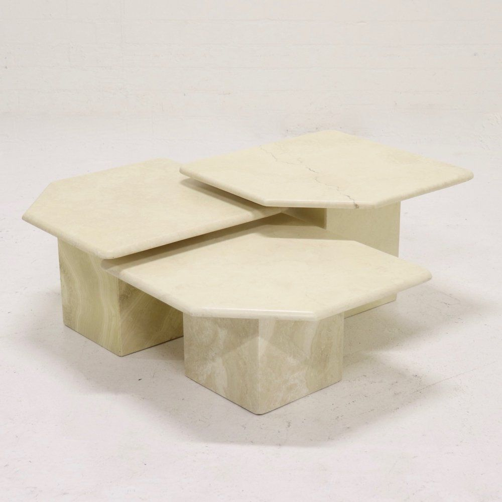 For Sale Set Of 3 Italian Travertine Side Tables Or Landscape Coffee Table 1970s In 2020