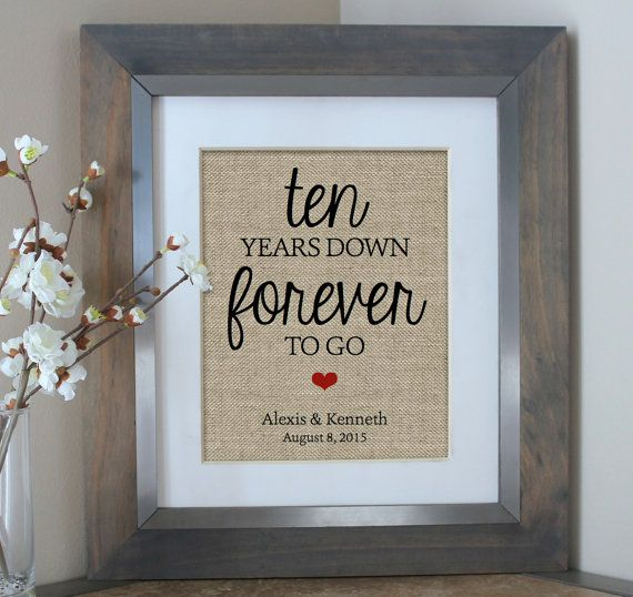 Ten Years Down Burlap Print, 10 Year Anniversary Gift, Gift for ...