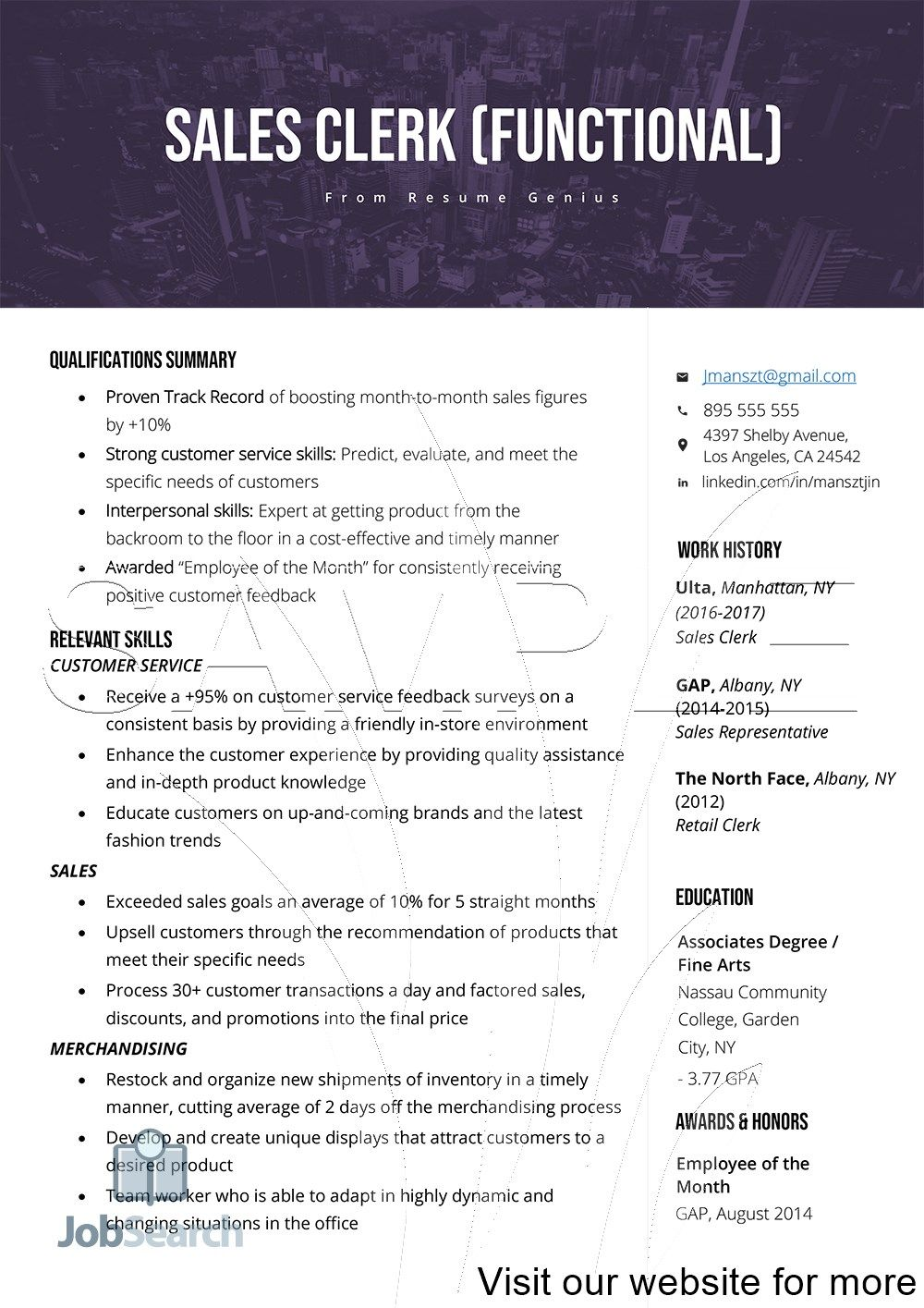 Sales Clerk Functional Resume Examples 2020 in 2020