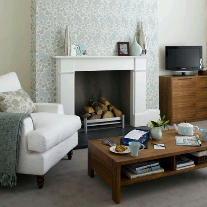 WALLPAPER CHIMNEY BREAST | Fireplace | Room, Living Room, Living room designs