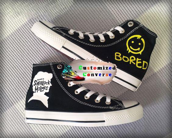 Sherlock Holmes Shoes | Sherlock bored, Sherlock, Painted shoes