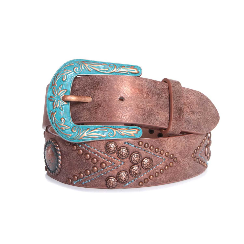 Silver 16 Embroidery Crystals Ladies SOUTHWEST Style Leather BELT- Nocona