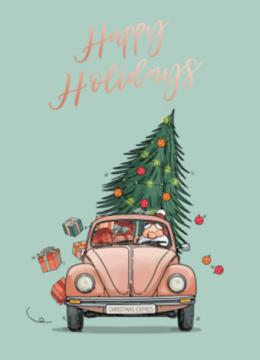 Kerstkaart Hippe Kever Met Kerstman En Kerstboom Kerst Kaarten Kerstman Kerst Auto