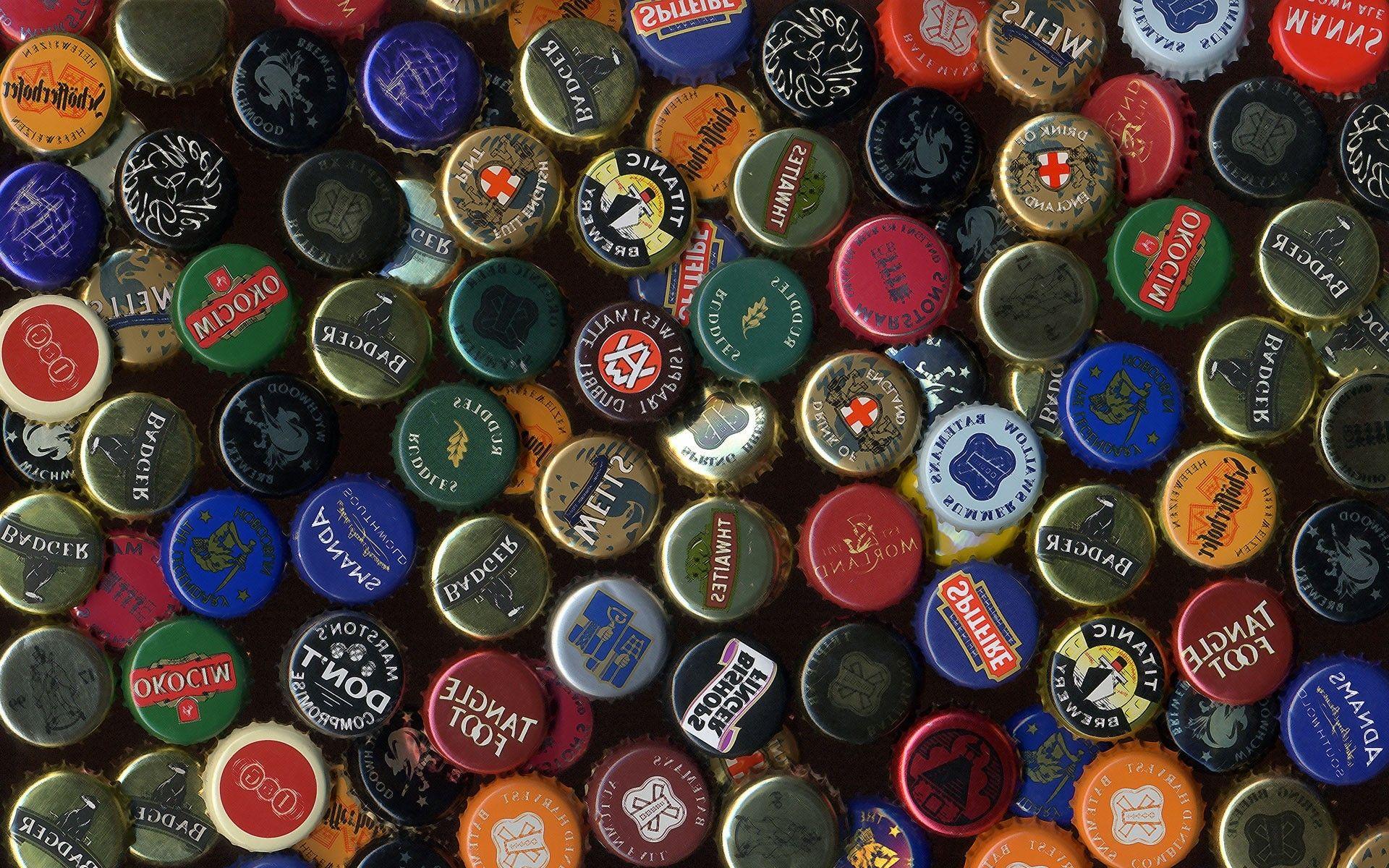 beer bottle caps backgrounds