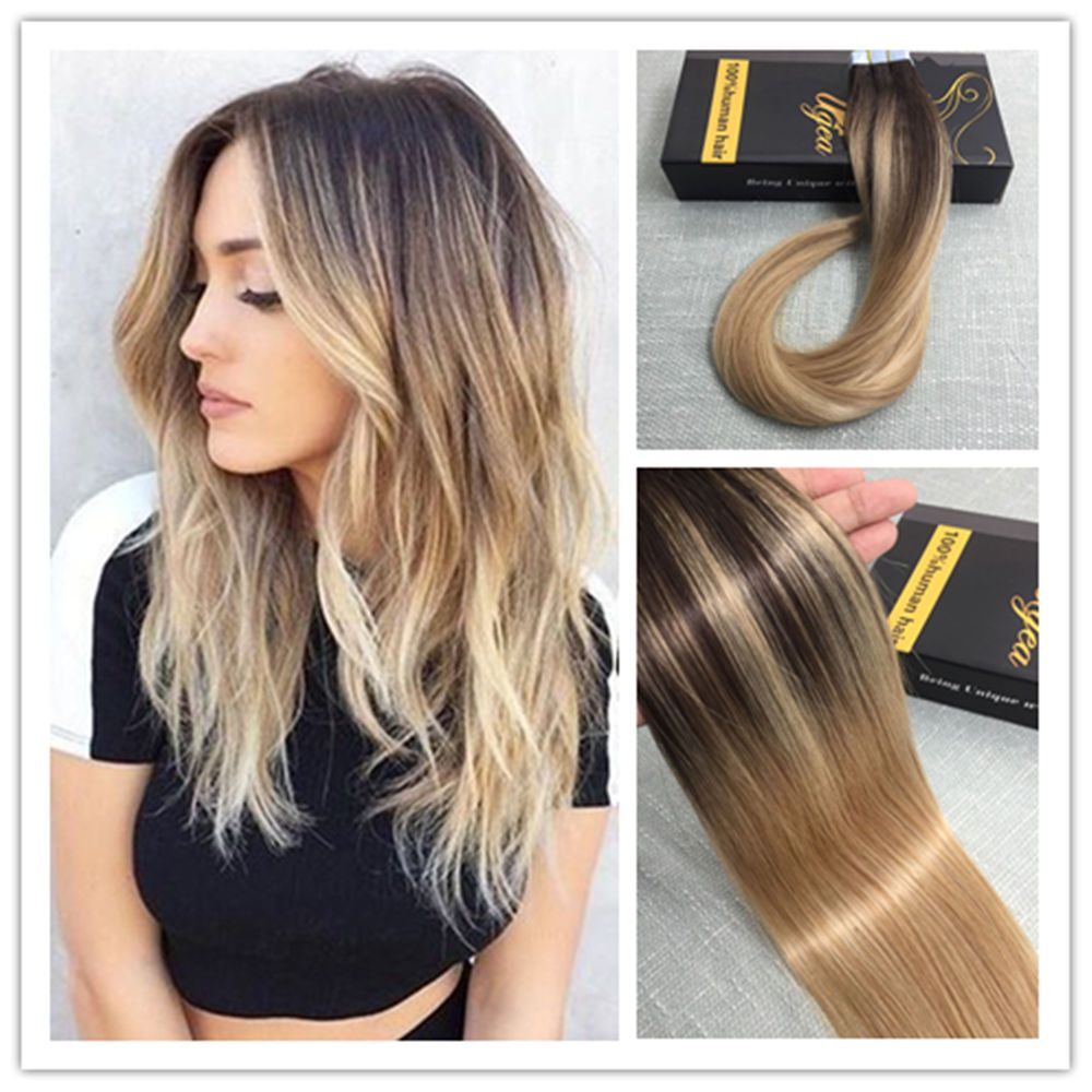 Details About Balayage Ombre Dark Brown To Blonde Remy Seamless
