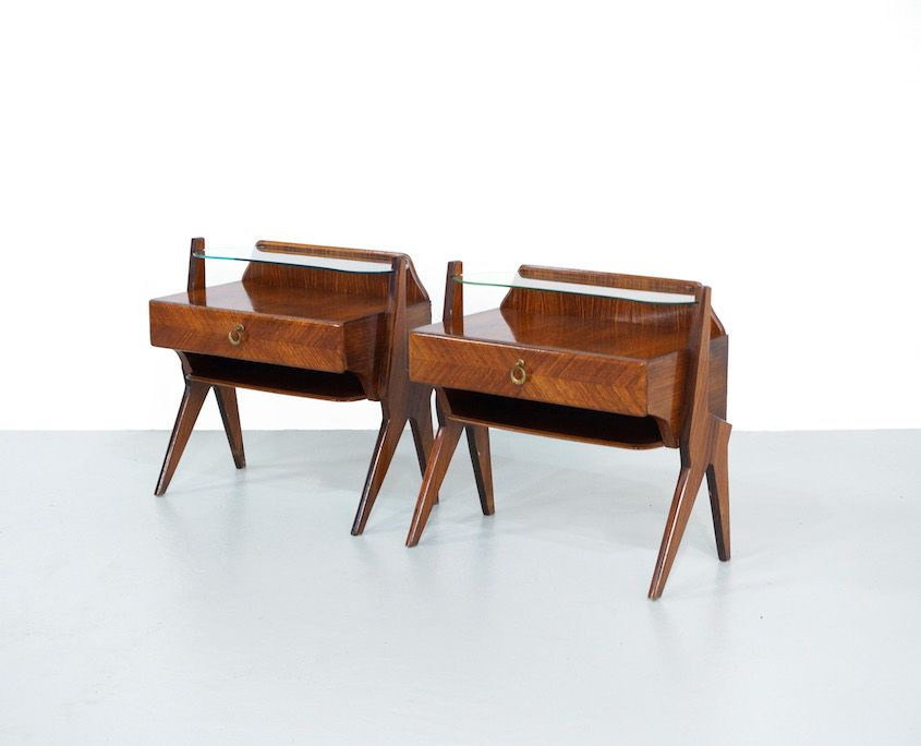 Pair 1950s Italian Night Stands Attributed To Vittorio Di