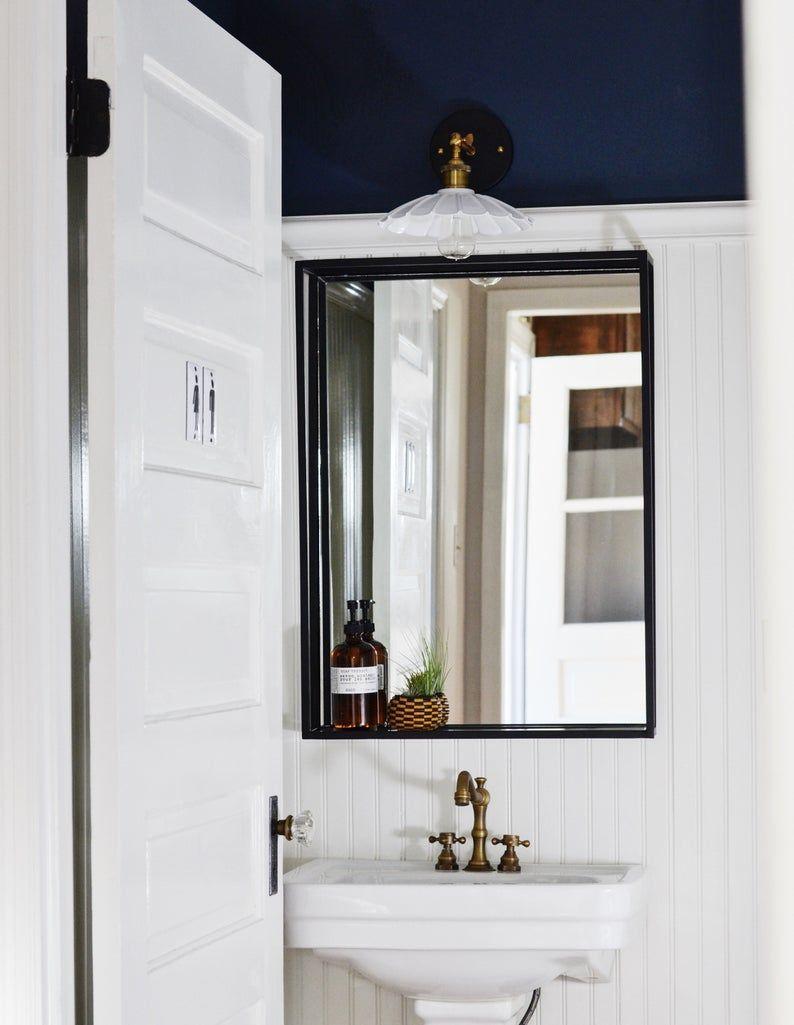 Bathroom Shelf Mirror Modern Industrial Black Steel Metal Framed Bathroom Mirror With Shelf Custom Handmade To Order In 2020 Modern Powder Rooms Bathroom Mirror With Shelf Framed Bathroom Mirror