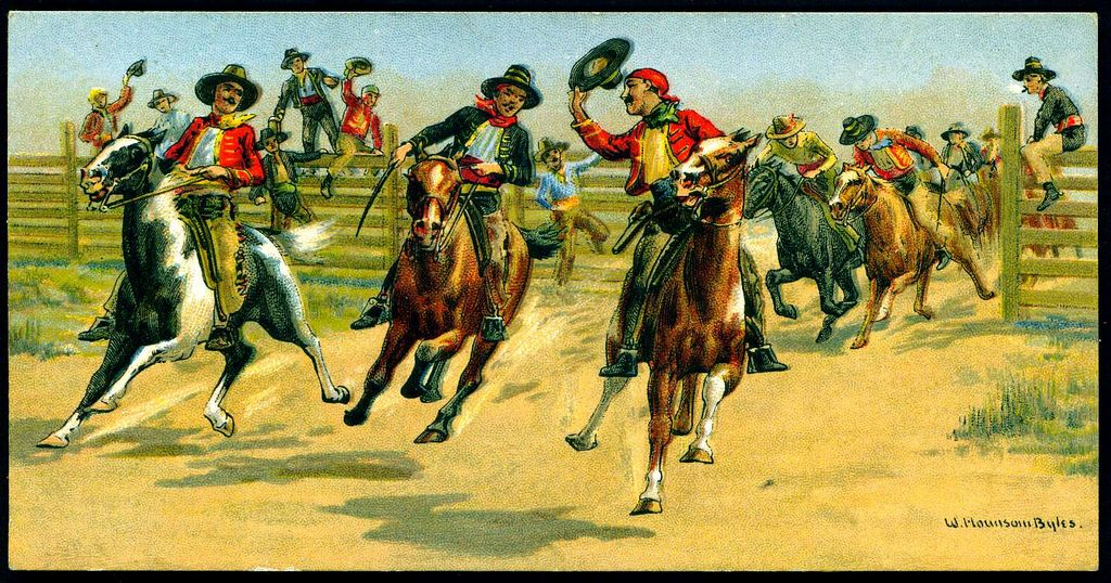 https://flic.kr/p/7us9og | Cigarette Card - Mexican Horse Race | Carreras Cigarettes, Races Historic and Modern (postcard size) 1927. No4 Mexican Horse Races.