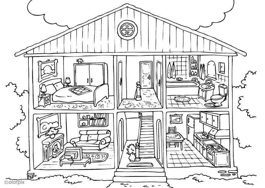 Free Coloring Pages Febbraio Tema: Room House | Pinterest | Adult ...