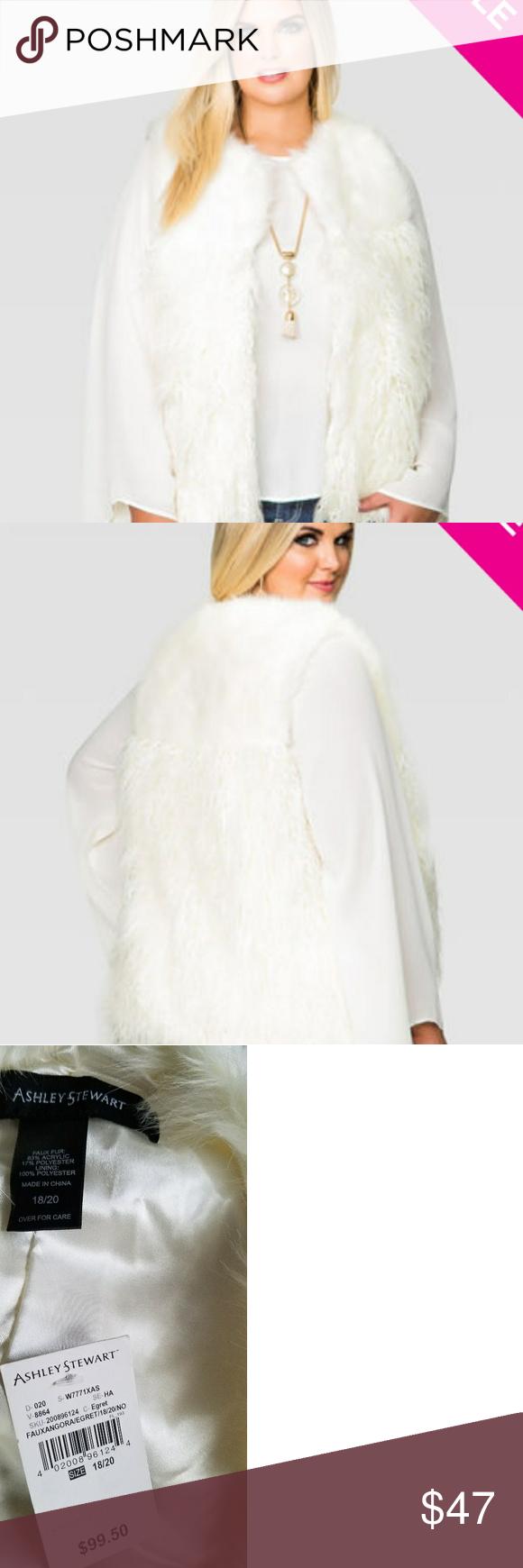 1764701a2d8f5 Ashley Stewart Jackets   Coats Vests. Faux Angora Vest Own the night in  this plus size faux fur vest. Rock it