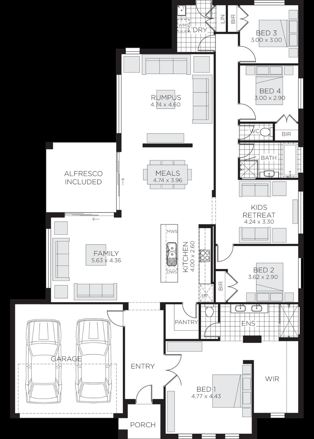 Eden Home Design Open Plan Single Storey Rawson Homes Single Level House Plans House Floor Plans House Plans