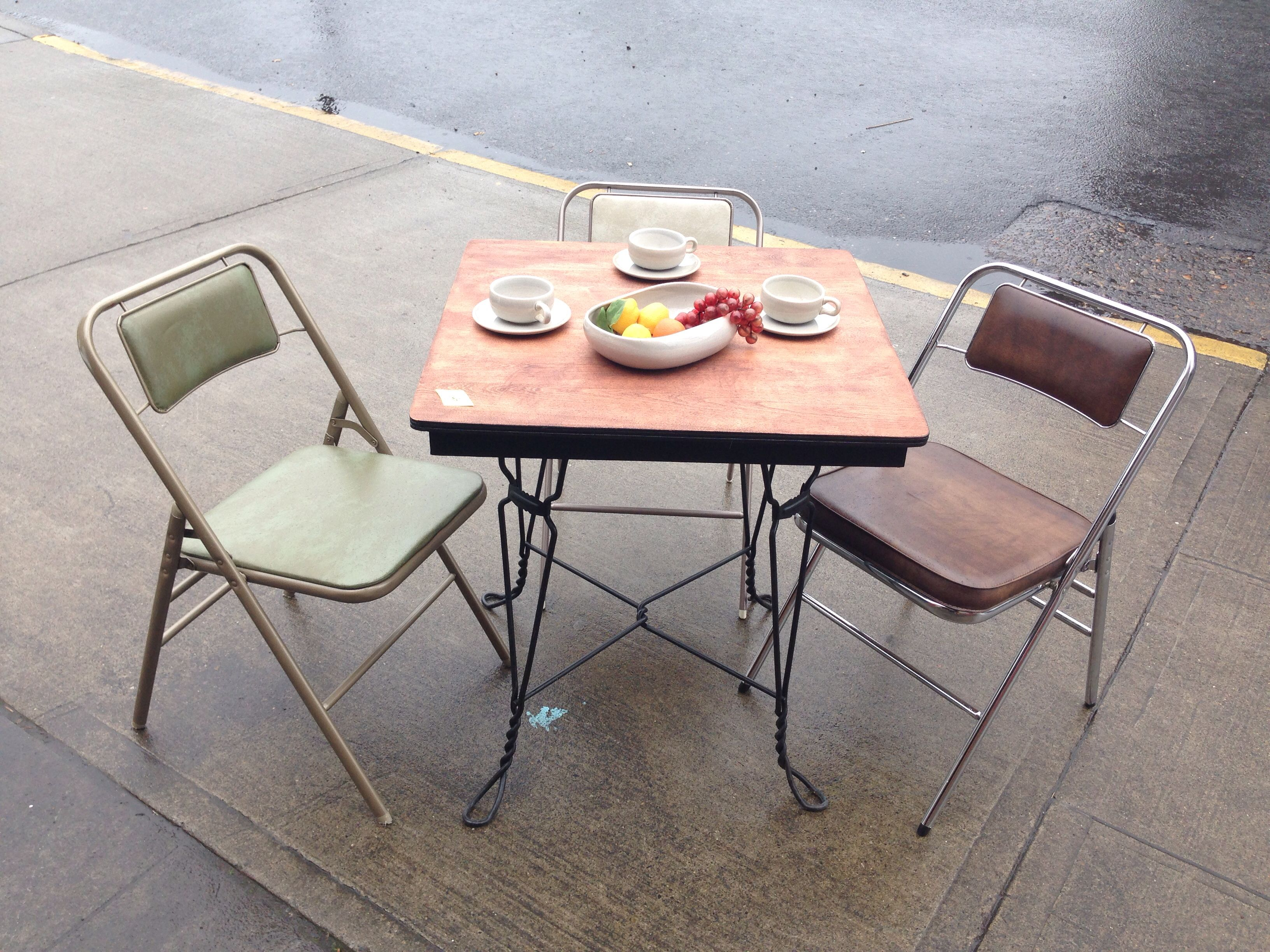 This Fantastic Small Wood Table With Funky Iron Legs Now In The Shop. Stop  By To Have A Look. 1310 Hawthorne Blvd. Portland, OR.