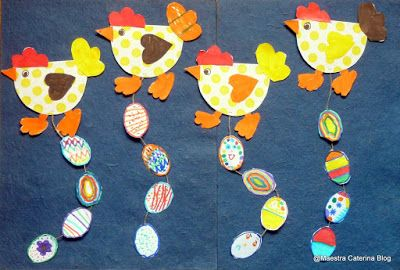 Maestra Caterina: Pasqua: galline con uova decorate