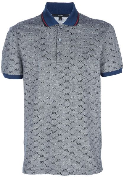 537bc9696 Gucci Monogrammed Polo Shirt in Gray for Men (grey) | Lyst | Man's T ...
