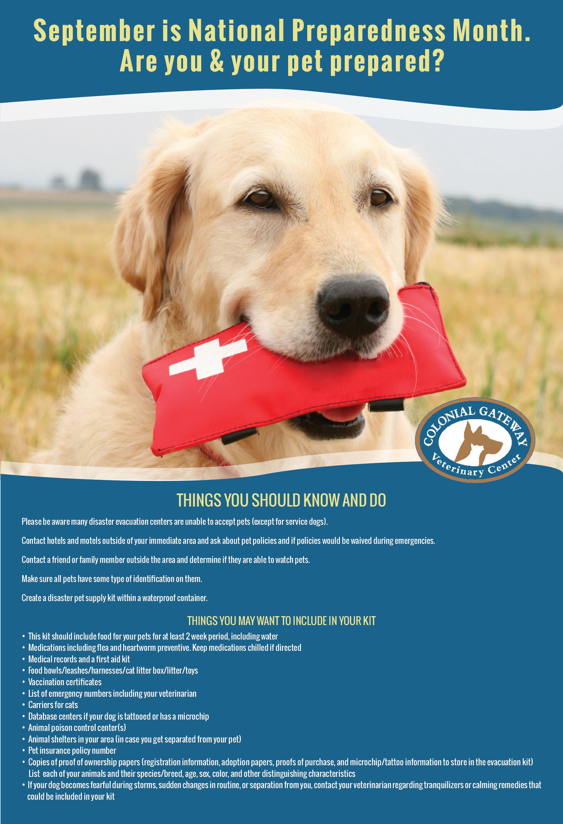 September Preparedness Month Colonialgatewayveterinarycenter Vets Petcare Pets Dogs Pawprintseo W National Preparedness Month Service Dogs Pet Boarding