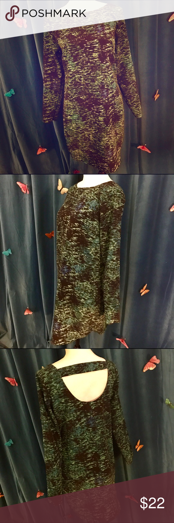 GAP Black & Teal Green Abstract Print LS Dress S Funky dress purchased at GAP & worn once; in great condition with no noticeable wear. Cool abstract pattern & open back. Best fits size S as marked & shown. GAP Dresses Long Sleeve