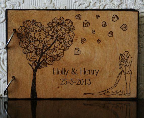 Handmade/hand burned custom wedding guest book by CelticWoodandArt, £30.00