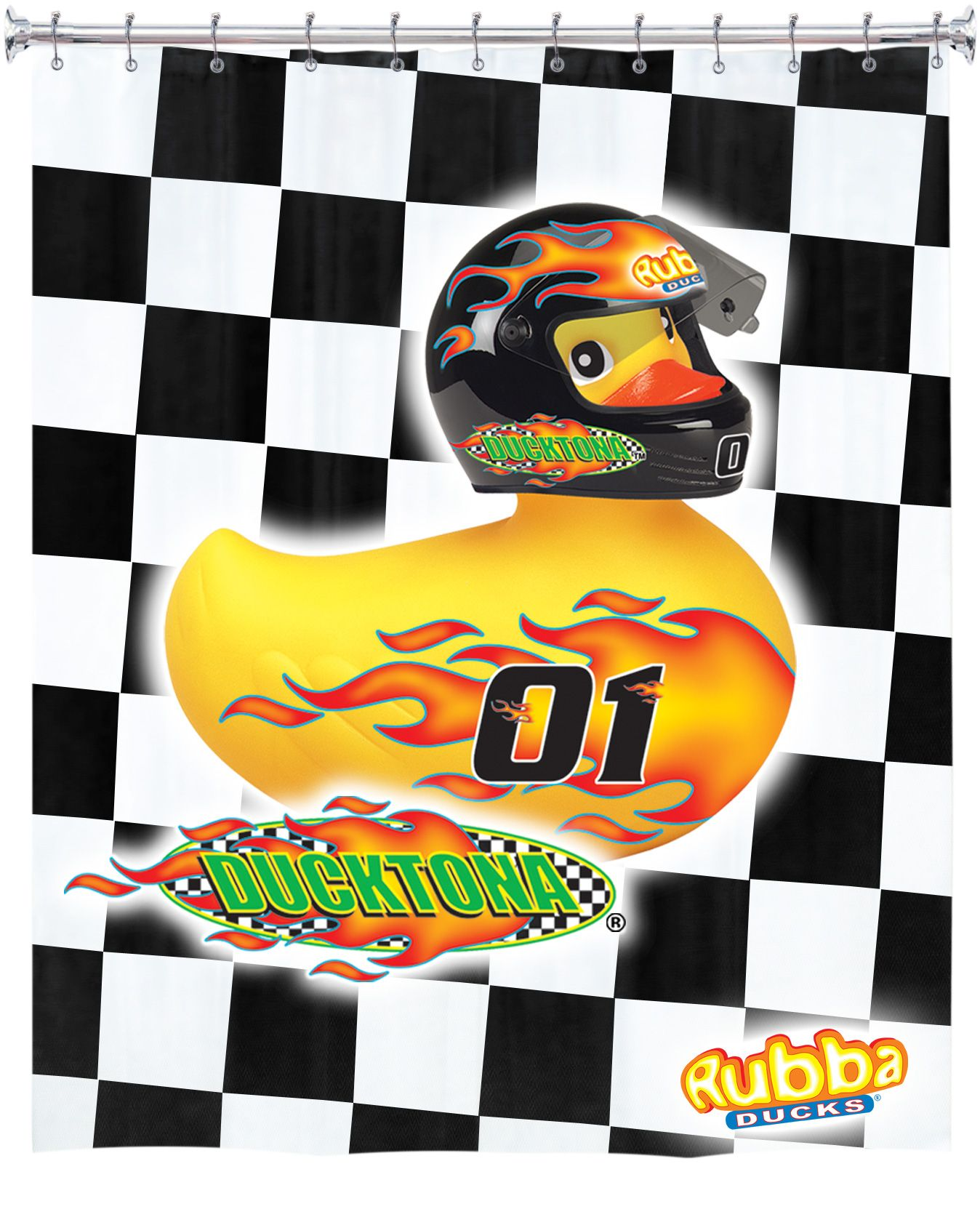 Ducktona Nascar Race Car Rubba Duck Pure EVA Shower Curtain 84 X 72